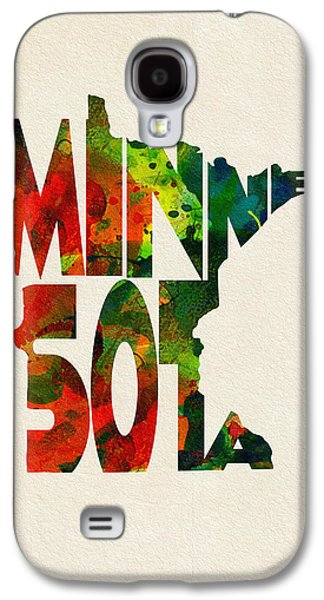Minnesota Galaxy S4 Cases - Minnesota Typographic Watercolor Map Galaxy S4 Case by Ayse Deniz