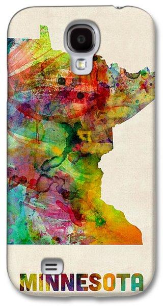Minnesota Galaxy S4 Cases - Minnesota Watercolor Map Galaxy S4 Case by Michael Tompsett