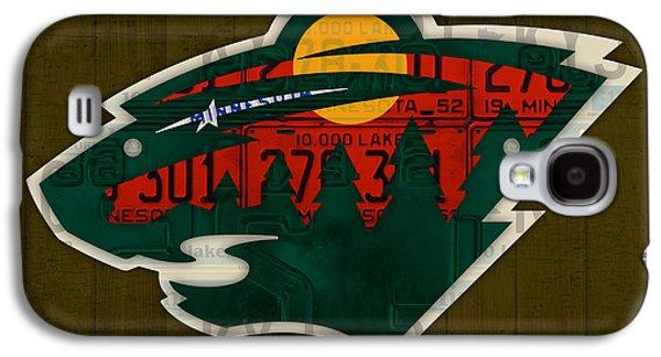 Hockey Mixed Media Galaxy S4 Cases - Minnesota Wild Retro Hockey Team Logo Recycled Land of 10000 Lakes License Plate Art Galaxy S4 Case by Design Turnpike