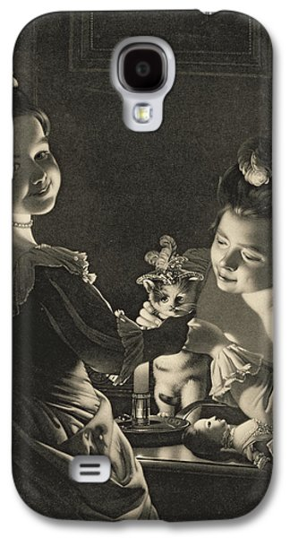 Girl Galaxy S4 Cases - Miss Kitty Dressing, 1781 Mezzotint Galaxy S4 Case by Joseph Wright of Derby
