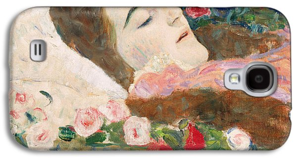 Posters On Paintings Galaxy S4 Cases - Miss Ria Munk on her Deathbed Galaxy S4 Case by Gustav Klimt