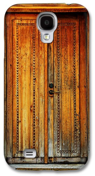 Wooden Sculpture Galaxy S4 Cases - Mission  San Juan Capistrano Door -- San Antonio Galaxy S4 Case by Stephen Stookey
