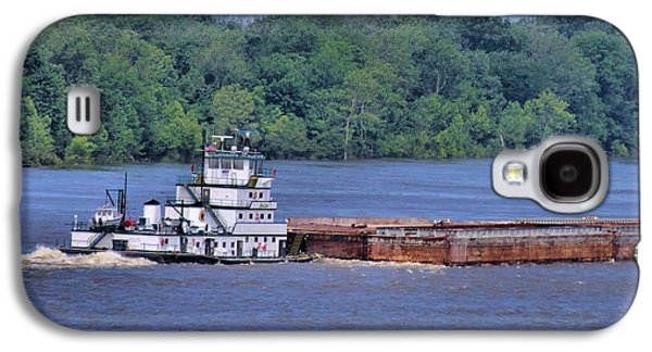 River Flooding Galaxy S4 Cases - Mississippi River Barge Galaxy S4 Case by Dan Sproul