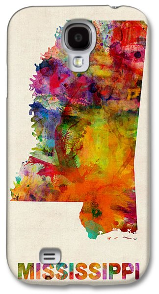 Geography Galaxy S4 Cases - Mississippi Watercolor Map Galaxy S4 Case by Michael Tompsett