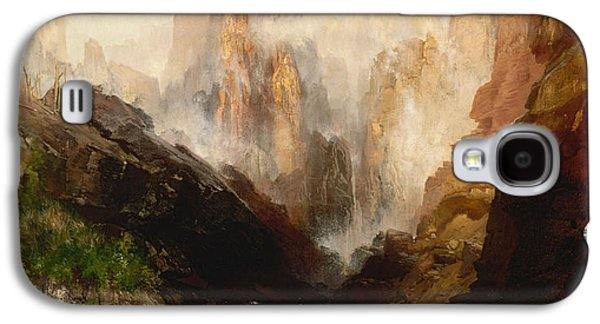 Mist Paintings Galaxy S4 Cases - Mist in Kanab Canyon Utah Galaxy S4 Case by Thomas Moran