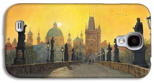 Charles River Paintings Galaxy S4 Cases - Misty Dawn Charles Bridge Prague Galaxy S4 Case by Richard Harpum