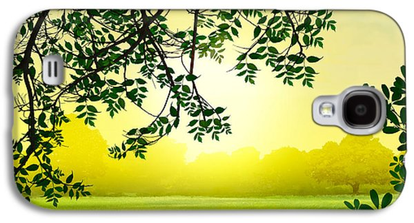 Garden Scene Mixed Media Galaxy S4 Cases - Misty Morning Galaxy S4 Case by Bedros Awak