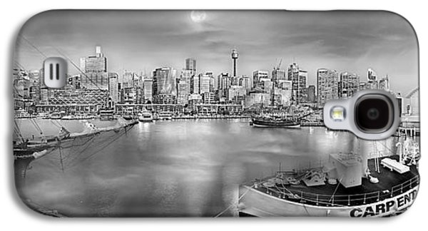 Tall Ship Galaxy S4 Cases - Misty Morning Harbour - BW Galaxy S4 Case by Az Jackson