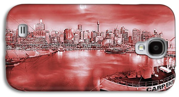 Tall Ship Galaxy S4 Cases - Misty Morning Harbour - Red Galaxy S4 Case by Az Jackson