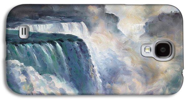 Waterfalls Paintings Galaxy S4 Cases - Misty Niagara Falls Galaxy S4 Case by Ylli Haruni