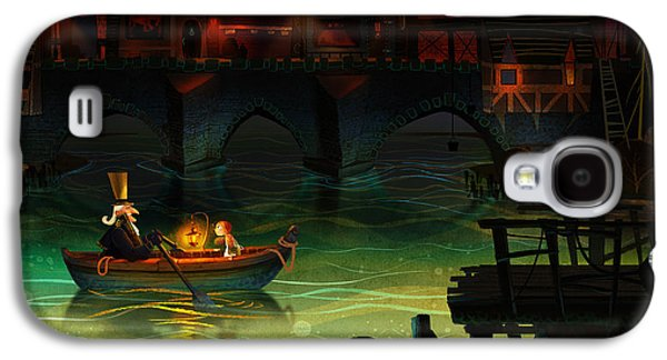 Docked Boat Galaxy S4 Cases - Misty Night Galaxy S4 Case by Kristina Vardazaryan