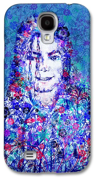 King Of Pop Galaxy S4 Cases - MJ floral version 2 Galaxy S4 Case by MB Art factory