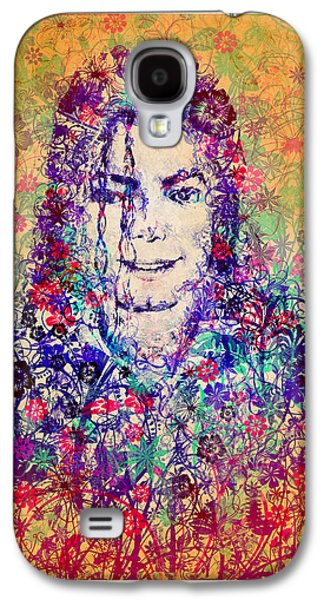 King Of Pop Galaxy S4 Cases - MJ floral version 3 Galaxy S4 Case by MB Art factory