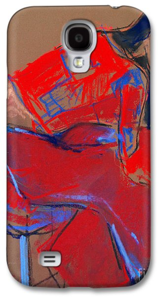 Chair Pastels Galaxy S4 Cases - Model #3 - Woman wiping her face - figure series Galaxy S4 Case by Mona Edulesco