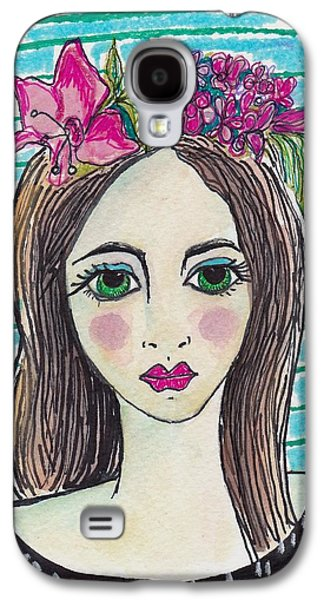 Abstract Collage Drawings Galaxy S4 Cases - Modern Folk Portrait Galaxy S4 Case by Rosalina Bojadschijew
