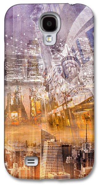 Brooklyn Bridge Digital Galaxy S4 Cases - Modern NYC Composing purple/orange Galaxy S4 Case by Melanie Viola