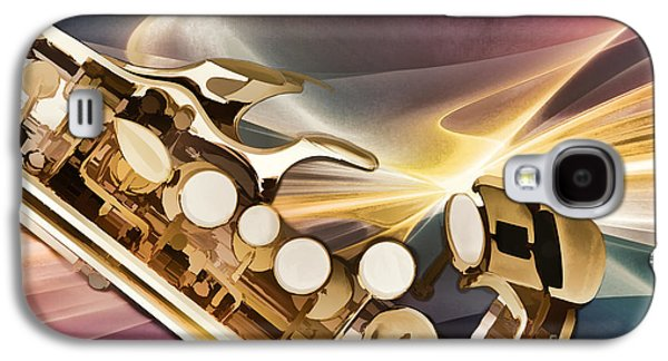 Soprano Galaxy S4 Cases - Modern Soprano Saxophone Painting in Color 3345.02 Galaxy S4 Case by M K  Miller