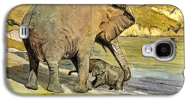 Orientalists Galaxy S4 Cases - Mom and cub elephants having a bath Galaxy S4 Case by Juan  Bosco