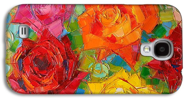 Modern Abstract Galaxy S4 Cases - Mon Amour La Rose Galaxy S4 Case by Mona Edulesco