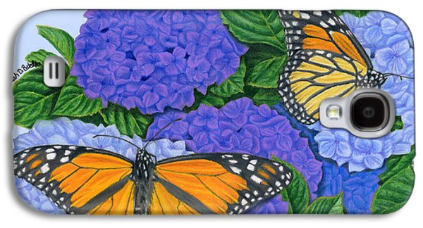 Purple Art Galaxy S4 Cases - Monarch Butterflies And Hydrangeas Galaxy S4 Case by Sarah Batalka