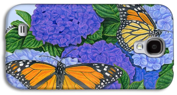 Purple Drawings Galaxy S4 Cases - Monarch Butterflies And Hydrangeas Galaxy S4 Case by Sarah Batalka