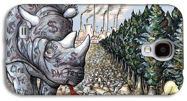 Money Against Nature - Cartoon Art Galaxy S4 Case by Art America Online Gallery