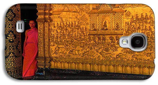 Interior Scene Photographs Galaxy S4 Cases - Monk In Prayer Hall At Wat Mai Buddhist Galaxy S4 Case by Panoramic Images