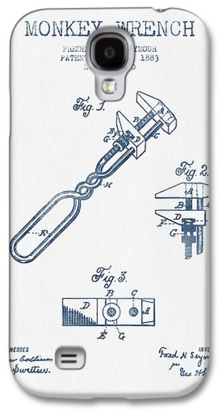 Monkey Wrench Patent Drawing From 1883- Blue Ink Galaxy S4 Case by Aged Pixel