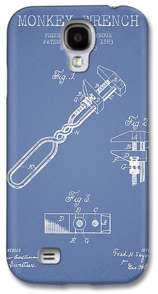 Monkey Wrench Patent Drawing From 1883 - Light Blue Galaxy S4 Case by Aged Pixel