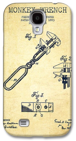 Monkey Wrench Patent Drawing From 1883 - Vintage Galaxy S4 Case by Aged Pixel