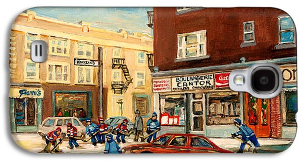 Store Fronts Paintings Galaxy S4 Cases - Monkland Street Hockey Game Montreal Urban Scene Galaxy S4 Case by Carole Spandau