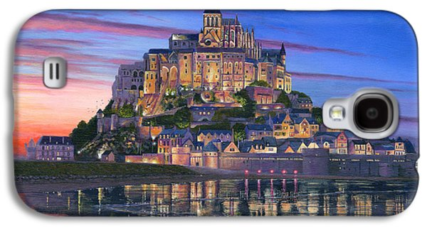 Architecture Acrylic Prints Galaxy S4 Cases - Mont Saint-Michel Soir Galaxy S4 Case by Richard Harpum