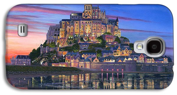 Landscape Acrylic Prints Paintings Galaxy S4 Cases - Mont Saint-Michel Soir Galaxy S4 Case by Richard Harpum