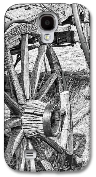 Wooden Wagons Galaxy S4 Cases - Montana Old Wagon Wheels Monochrome Galaxy S4 Case by Jennie Marie Schell