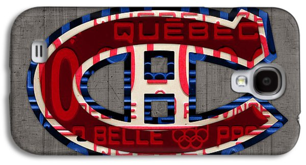 Montreal Canadiens Galaxy S4 Cases - Montreal Canadiens Hockey Team Retro Logo Vintage Recycled Quebec Canada License Plate Art Galaxy S4 Case by Design Turnpike