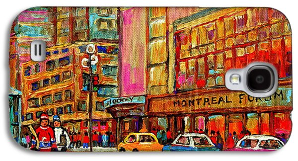Stanley Cup Paintings Galaxy S4 Cases - Montreal Forum  Winter Scene Paintings Snowy Day Downtown Strolling Atwater C Spandau  Galaxy S4 Case by Carole Spandau
