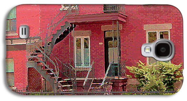 Montreal Memories Galaxy S4 Cases - Montreal Memories The Old Neighborhood Timeless Triplex With Spiral Staircase City Scene C Spandau  Galaxy S4 Case by Carole Spandau