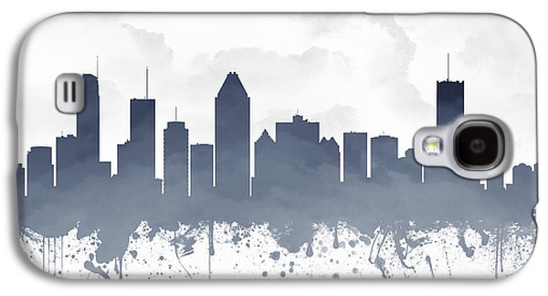 Quebec Galaxy S4 Cases - Montreal Quebec Skyline - blue 03 Galaxy S4 Case by Aged Pixel