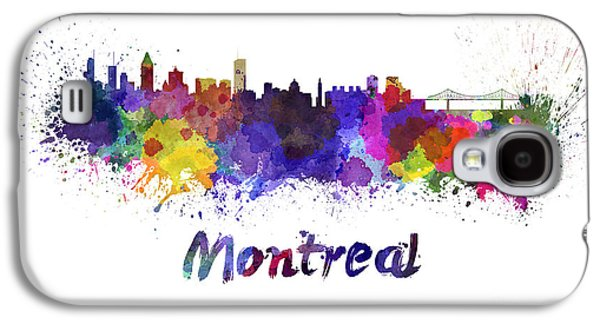 Montreal Paintings Galaxy S4 Cases - Montreal skyline in watercolor Galaxy S4 Case by Pablo Romero