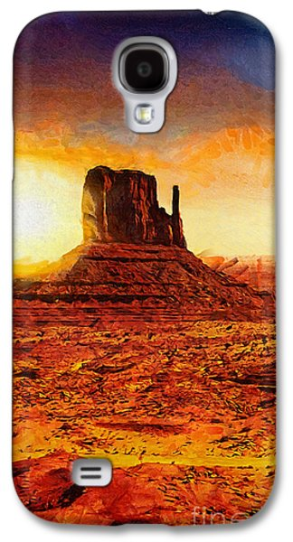 Park Scene Paintings Galaxy S4 Cases - Monument Valley Galaxy S4 Case by Mo T