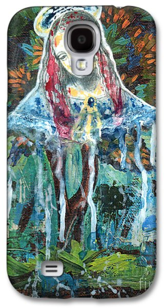Spiritual Portrait Of Woman Mixed Media Galaxy S4 Cases - Monumental Tree Goddess Galaxy S4 Case by Genevieve Esson