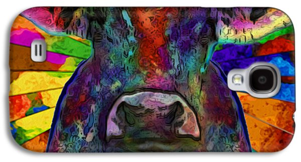 Installation Art Galaxy S4 Cases - Moo Cow With Color Galaxy S4 Case by Jack Zulli