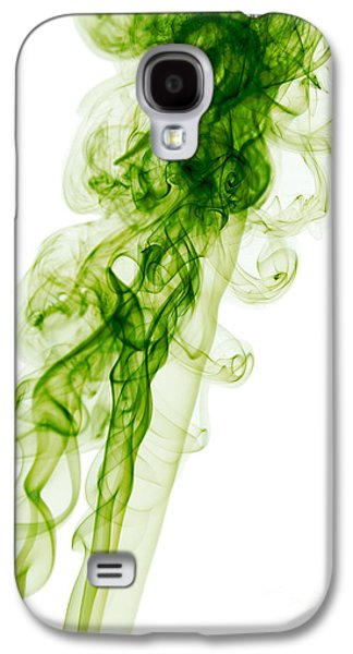 Angels Smoking Galaxy S4 Cases - Mood Colored Abstract Vertical Green Smoke Wall Art 01 Galaxy S4 Case by Alexandra K