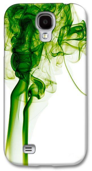 Angels Smoking Galaxy S4 Cases - Abstract Vertical Green Mood Colored Smoke Wall Art 03 Galaxy S4 Case by Alexandra K