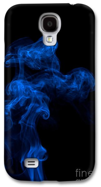 Angels Smoking Galaxy S4 Cases - Abstract Vertical Paris Blue Mood Colored Smoke Art 03 Galaxy S4 Case by Alexandra K