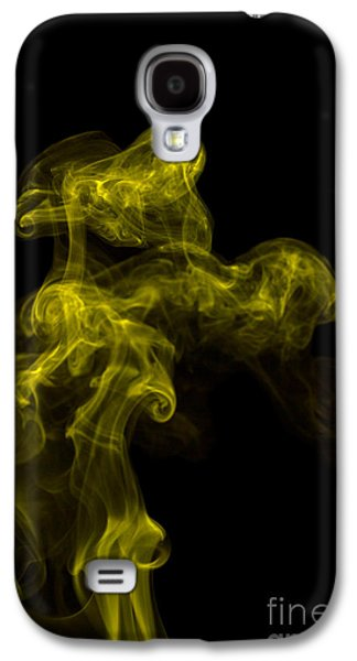 Angels Smoking Galaxy S4 Cases - Abstract Vertical Yellow Mood Colored Smoke Wall Art 02 Galaxy S4 Case by Alexandra K