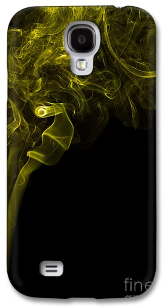 Angels Smoking Galaxy S4 Cases - Mood Colored Abstract Vertical Yellow Smoke Wall Art 03 Galaxy S4 Case by Alexandra K