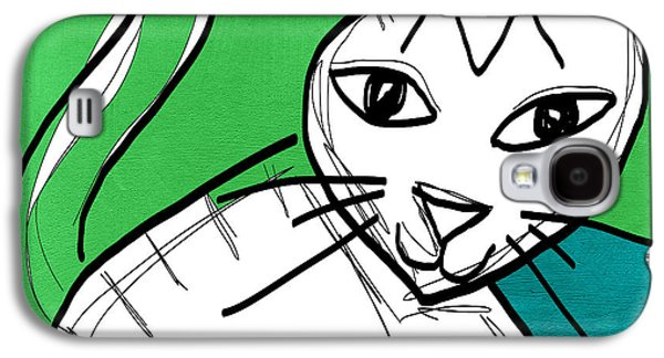 Moody Cat- Pop Art Galaxy S4 Case by Linda Woods