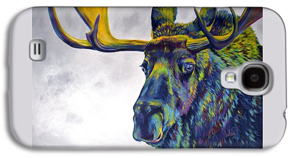 Wyoming Paintings Galaxy S4 Cases - Moody Moose Galaxy S4 Case by Teshia Art