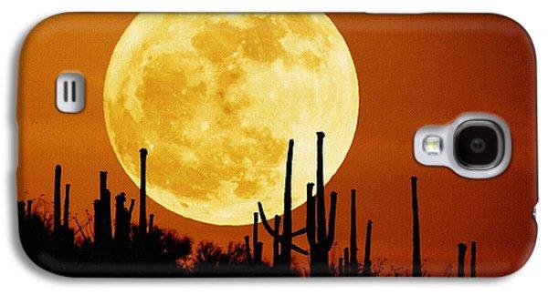 Screen Print Galaxy S4 Cases - Moon art Print Galaxy S4 Case by Victor Gladkiy